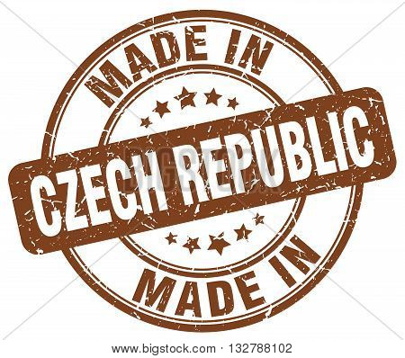 made in Czech Republic brown round vintage stamp.Czech Republic stamp.Czech Republic seal.Czech Republic tag.Czech Republic.Czech Republic sign.Czech.Republic.Czech Republic label.stamp.made.in.made in.