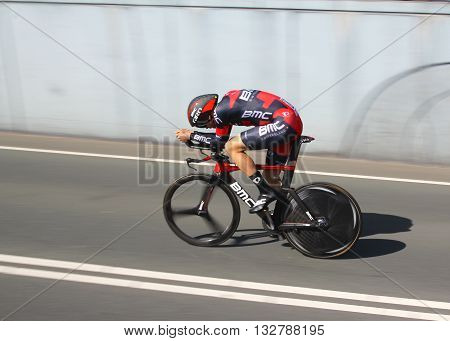 APELDOORN, NETHERLANDS-MAY 6 2016: Joseph Rosskopf of pro cycling team BMC Racing during the Giro d'Italia prologue time trial.