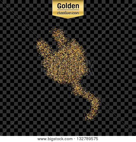 Gold glitter vector icon of power cabel isolated on background. Art creative concept illustration for web, glow light confetti, bright sequins, sparkle tinsel, abstract bling, shimmer dust, foil.