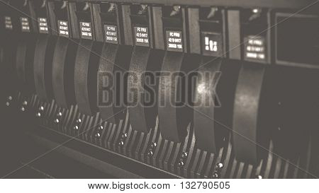 Computer Server and raid storage in datacenter process in vintage black and white style.