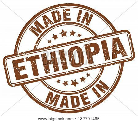 made in Ethiopia brown round vintage stamp.Ethiopia stamp.Ethiopia seal.Ethiopia tag.Ethiopia.Ethiopia sign.Ethiopia.Ethiopia label.stamp.made.in.made in.
