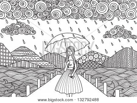 Beautiful girl walking on the bridge while it's raining, doodle art design for adult coloring book pages and other decorations