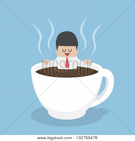 Businessman Relaxing In A Cup Of Coffee