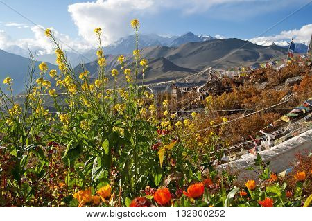 Nice view of mountains in Muktinath Nepal