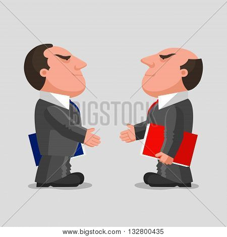 Two men dressed in business suits with folders in their hands are reaching out hands to each other for greeting. Business partnerships concept
