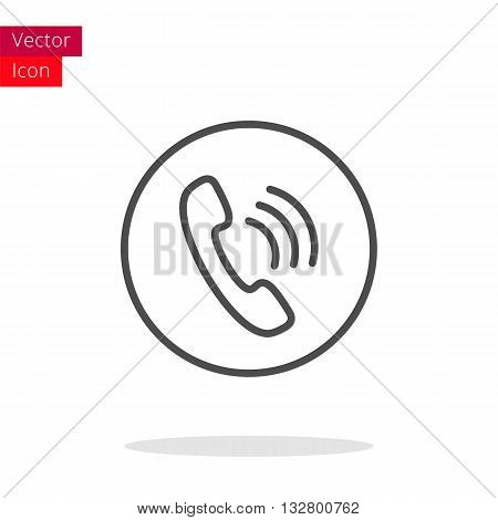 Phone Thin Line Icon. Phone Icon in circle. Vector Phone Icon. Round Phone Icon. Phone Icon On white background. Phone Icon Illustration.
