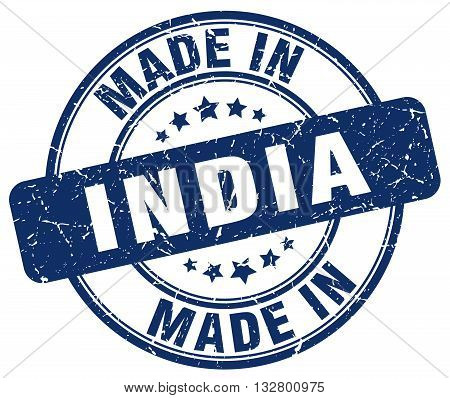 made in India blue round vintage stamp.India stamp.India seal.India tag.India.India sign.India.India label.stamp.made.in.made in.