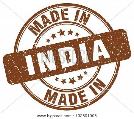 made in India brown round vintage stamp.India stamp.India seal.India tag.India.India sign.India.India label.stamp.made.in.made in.