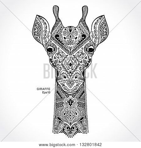 Vector giraffe with ethnic and tribal ornaments
