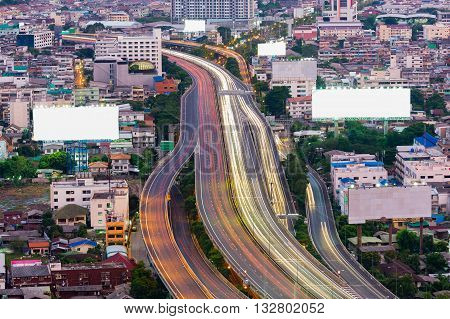 Aerial view, Highway road in central residence downtown, long exposure