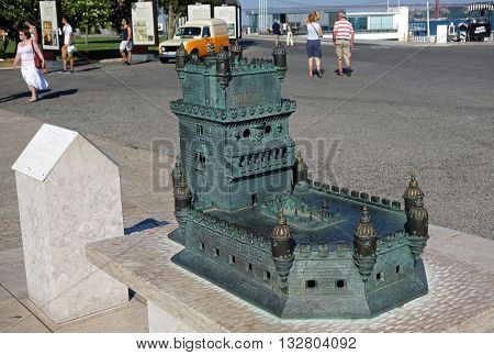 LISBON, PORTUGAL - JUNE 17, 2015: Miniature of Belem tower in Lisbon. Belem tower was classified by UNESCO as a World Heritage Site in 1983.