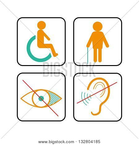Disabled signs deaf and blind vector icons template