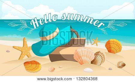 Great postcard, beautiful landscape, sea beach, beach bag, beach hat, seashells, pebbles. Sunburst text Hello summer. Vector illustration