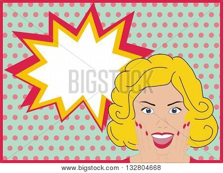 Surprised pop art girl. Surprised pop art woman. Woman with surprised face and open mouth. Background with speech bubble. Vector.