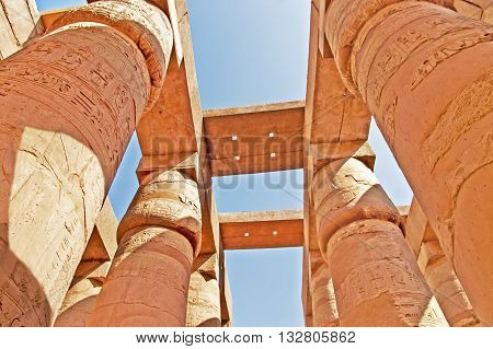 Magnificent columns of the Great Hypostyle Hall at the Temples of Karnak (ancient Thebes). Luxor, Egypt