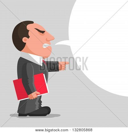 Angry boss dressed in gray business suit is keeping red document folder in hand and pointing finger in front of him. Discontented boss concept. Place for your text