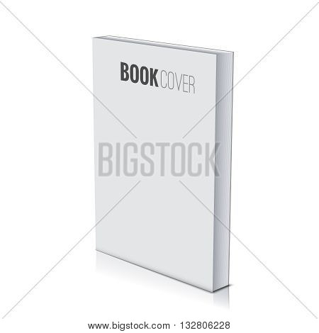 3d Book cover paperback page document template, blank isolated on white.