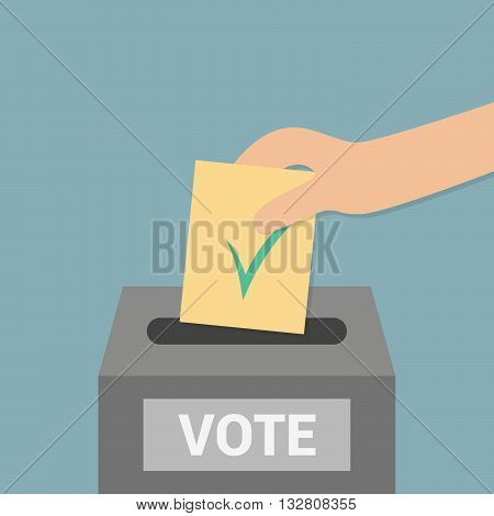 Elections - conceptual illustration. Election day. Cartoon hand with blank
