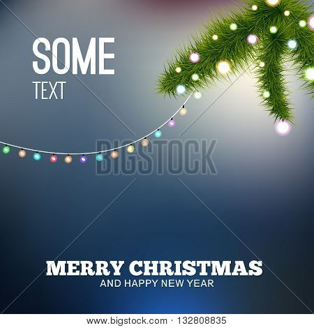 Christmas background with lights. Christmas tree branch.