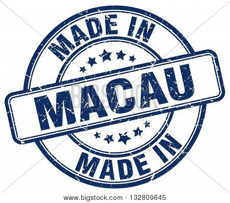 made in Macau blue round vintage stamp.Macau stamp.Macau seal.Macau tag.Macau.Macau sign.Macau.Macau label.stamp.made.in.made in.