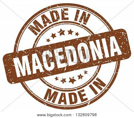 made in Macedonia brown round vintage stamp.Macedonia stamp.Macedonia seal.Macedonia tag.Macedonia.Macedonia sign.Macedonia.Macedonia label.stamp.made.in.made in.