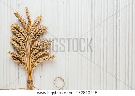 Golden ripe wheat on rustic white wooden background with cope space top view
