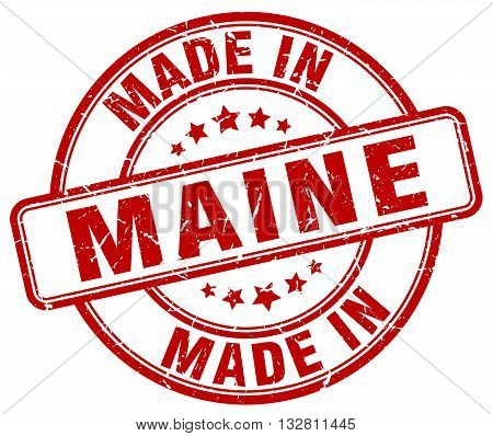 made in Maine red round vintage stamp.Maine stamp.Maine seal.Maine tag.Maine.Maine sign.Maine.Maine label.stamp.made.in.made in.