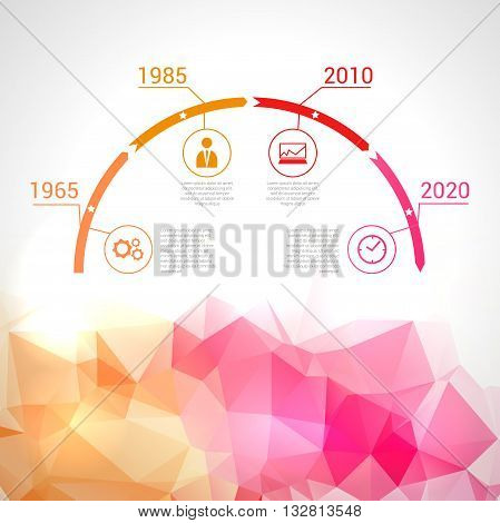 Timeline infographics, elements Timeline infographics, elements and icons. Triangle trendy designand icons. Triangle trendy design vector