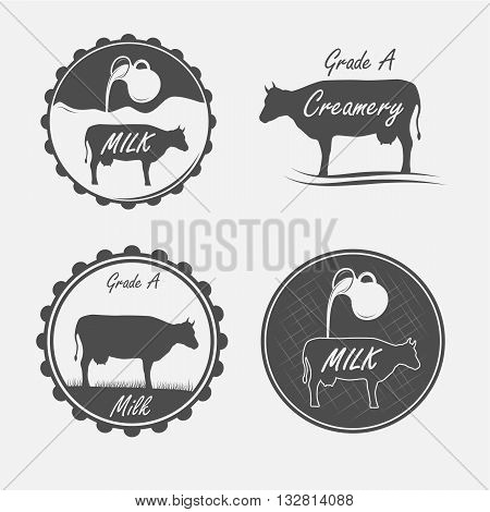 Set of milk and creamery labels emblems and elements
