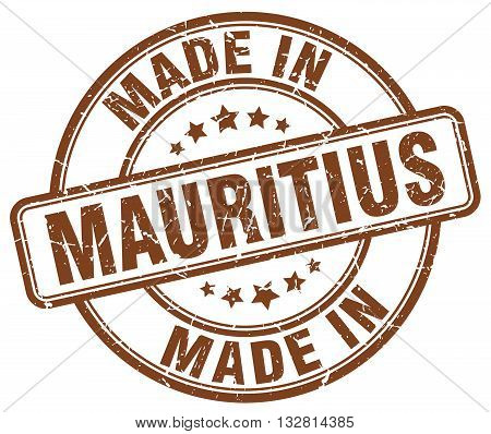 made in Mauritius brown round vintage stamp.Mauritius stamp.Mauritius seal.Mauritius tag.Mauritius.Mauritius sign.Mauritius.Mauritius label.stamp.made.in.made in.