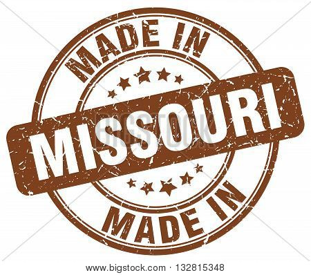made in Missouri brown round vintage stamp.Missouri stamp.Missouri seal.Missouri tag.Missouri.Missouri sign.Missouri.Missouri label.stamp.made.in.made in.