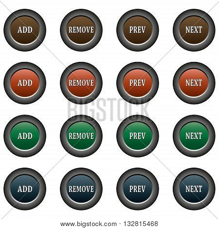 Collection of 16 isolated multicolor buttons (icons) - add button, remove button, prev button, next button