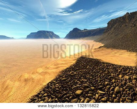 paisaje unico hecho en otro planeta saturno