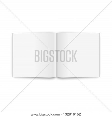 Blank opened square magazine, isolated on a white background. Vector EPS10 illustration.