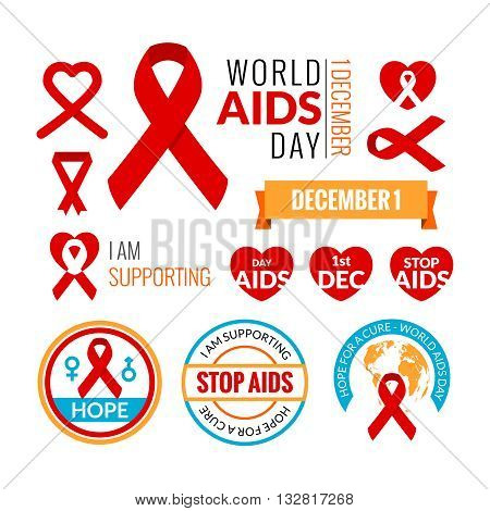 Set of AIDS badges. Vector collection. Stop AIDS signs set. AIDS red ribbons. AIDS logo set. World AIDS day - 1 December. HIV STI