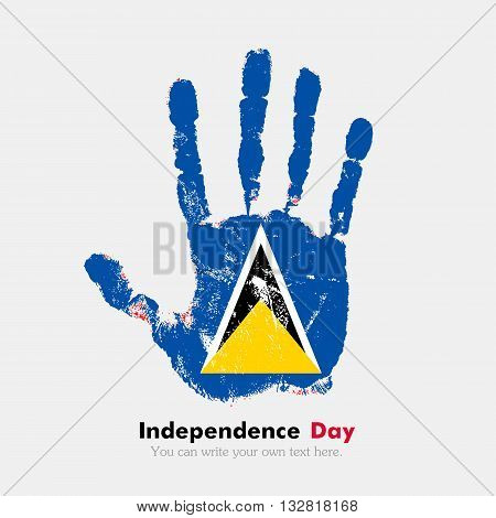 Hand print, which bears the Flag of Saint Lucia. Independence Day. Grunge style. Grungy hand print with the flag. Hand print and five fingers. Used as an icon, card, greeting, printed materials.