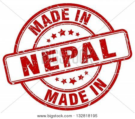 made in Nepal red round vintage stamp.Nepal stamp.Nepal seal.Nepal tag.Nepal.Nepal sign.Nepal.Nepal label.stamp.made.in.made in.