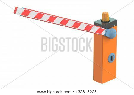 Boom barrier 3D rendering isolated on white background