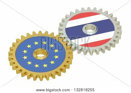 EU and Thailand flags on a gears 3D rendering isolated on white background