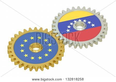 EU and Venezuela relations concept flags on a gears. 3D rendering isolated on white background