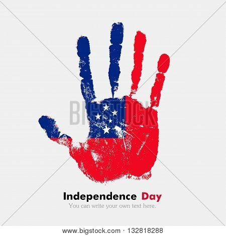 Hand print, which bears the Flag of Samoa. Independence Day. Grunge style. Grungy hand print with the flag. Hand print and five fingers. Used as an icon, card, greeting, printed materials.