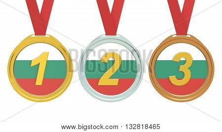 Gold Silver and Bronze medals with Bulgaria flag 3D rendering