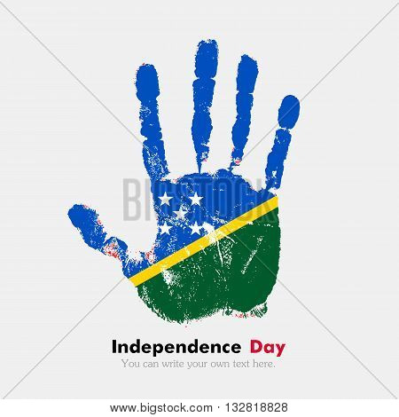 Hand print, which bears the Flag of Solomon Islands. Independence Day. Grunge style. Grungy hand print with the flag. Hand print and five fingers. Used as an icon, card, greeting, printed materials.