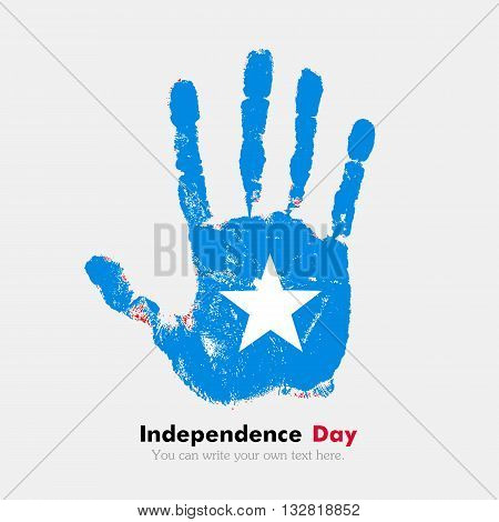 Hand print, which bears the Flag of Somalia. Independence Day. Grunge style. Grungy hand print with the flag. Hand print and five fingers. Used as an icon, card, greeting, printed materials.