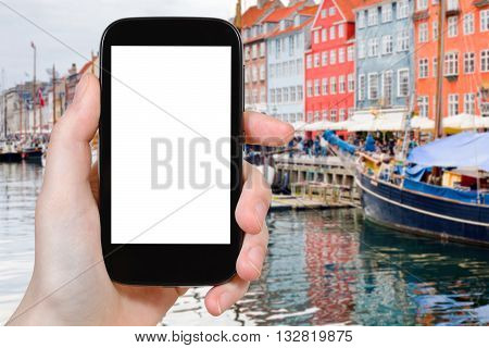 Tourist Photographs Nyhavn In Copenhagen