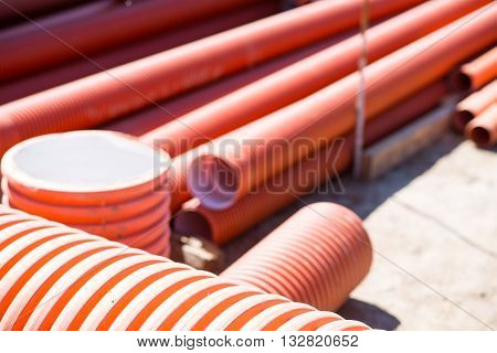 Red background. A large amount of red tubes, picture may be used as a background