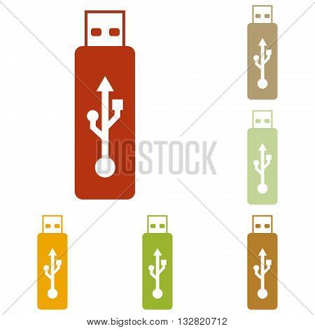 Vector USB flash drive sign. Colorful autumn set of icons.