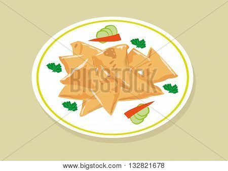 Samosa food is a popular fried dish in South East Asia, India, Mediterranean, Africa, Pakistan and Middle East or Arab World especially during Ramadan. Editable Clip Art.