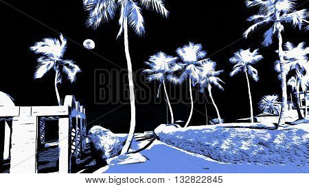 A eerie landscape of palm trees and the moon in black violet and white