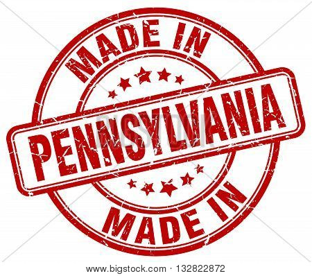 made in Pennsylvania red round vintage stamp.Pennsylvania stamp.Pennsylvania seal.Pennsylvania tag.Pennsylvania.Pennsylvania sign.Pennsylvania.Pennsylvania label.stamp.made.in.made in.